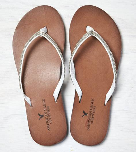 White  AEO Chain Link Leather Flip Flop