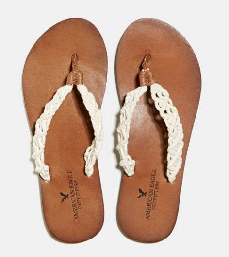 Tan AEO Crocheted Flip-Flop