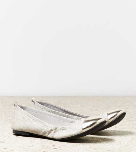 AEO Metallic Cap Toe Flat
