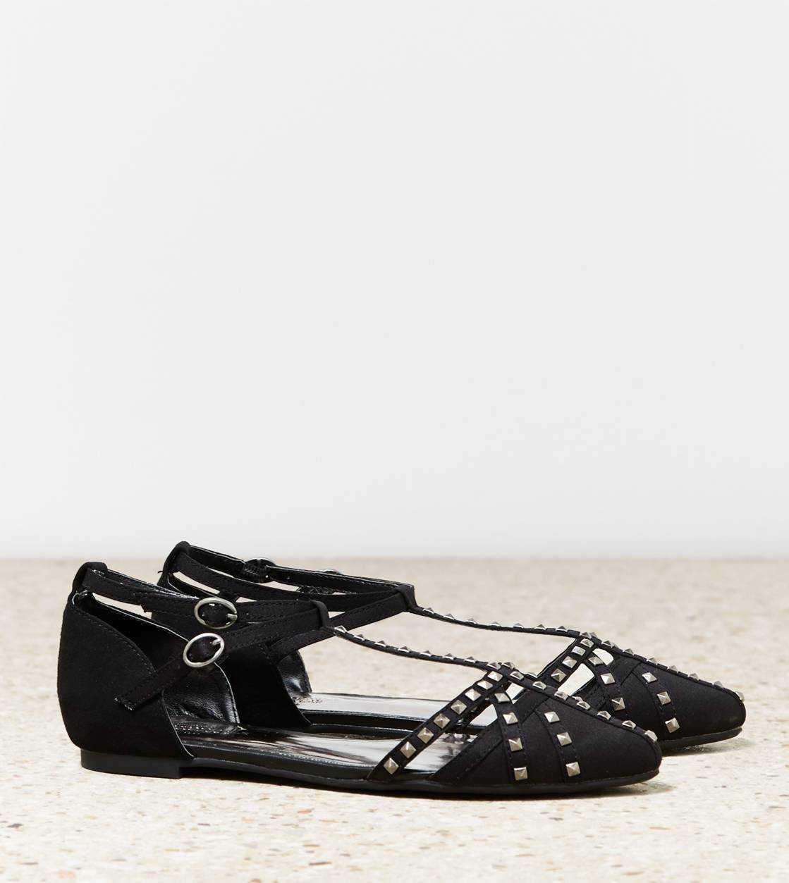 Black AEO Strappy Studded Flat
