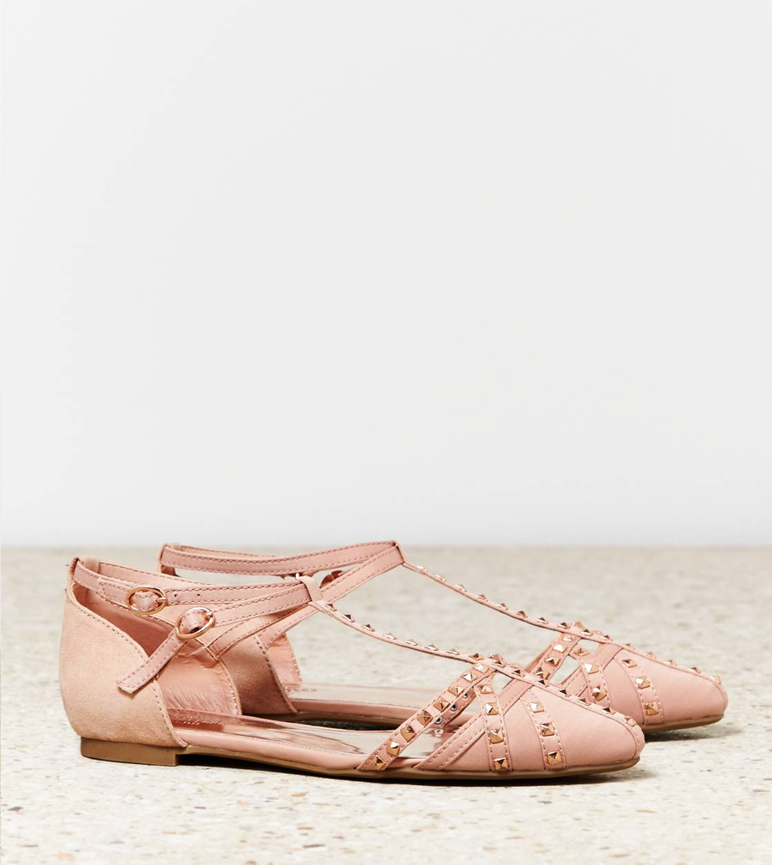 Light Pink AEO Strappy Studded Flat