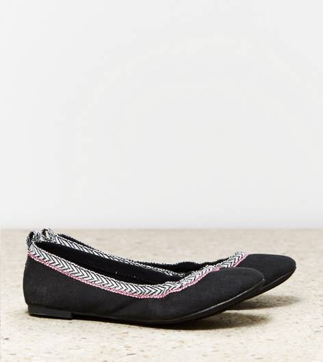 Black AEO Ribbon Trim Flat