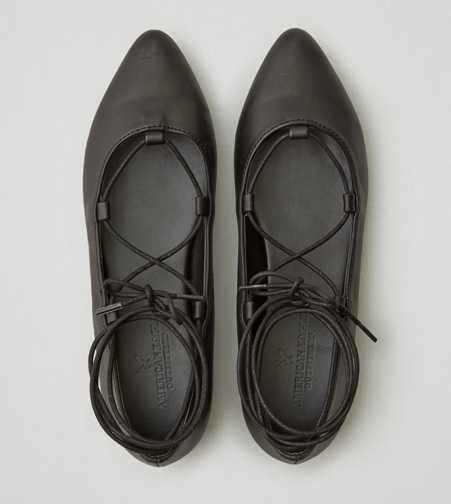 AEO Lace-Up Ballet Flat  - Free Shipping