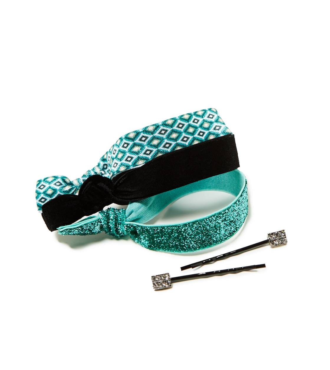 Teal AEO Hair Tie & Bobby Pin Set