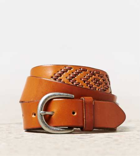 AEO Chevron Stitch Leather Belt