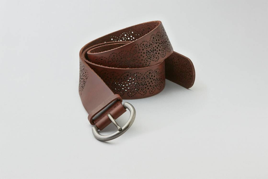 Brown AEO Perforated Leather Belt