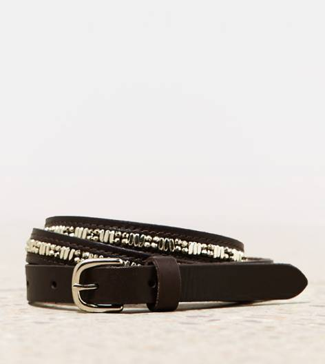 Dark Brown AEO Sparkly Leather Belt