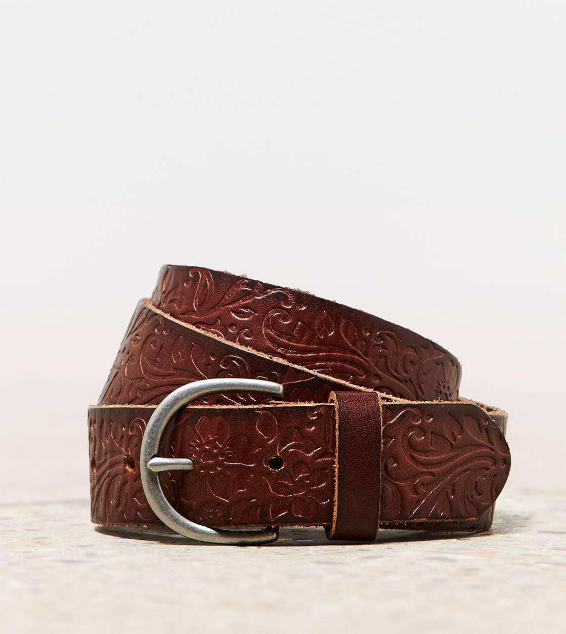 Brown AEO Pressed Leather Belt