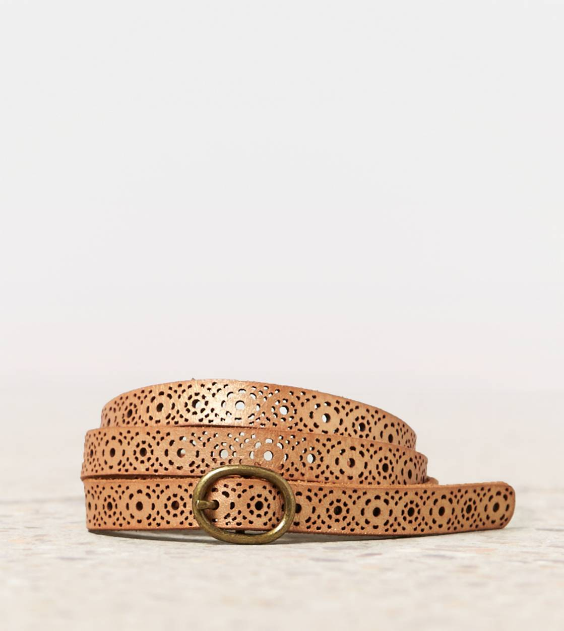 Gold AEO Perforated Metallic Belt