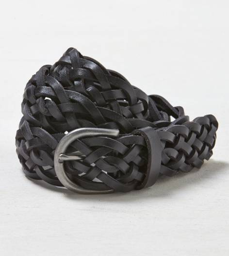 Black AEO Braided Leather Belt
