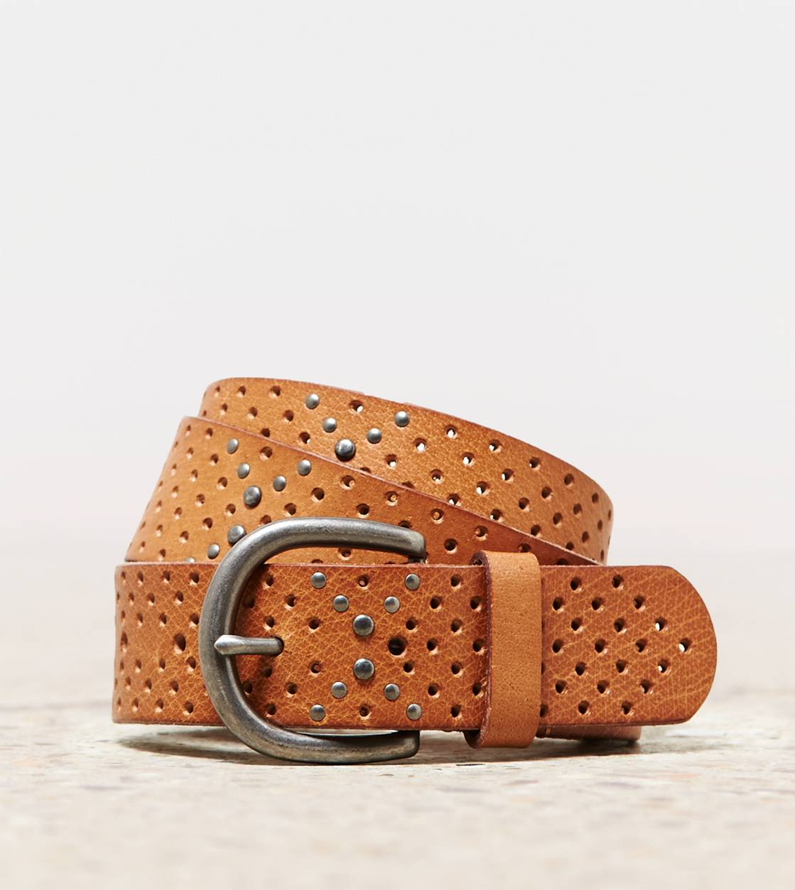 Tan AEO Perforated & Studded Belt