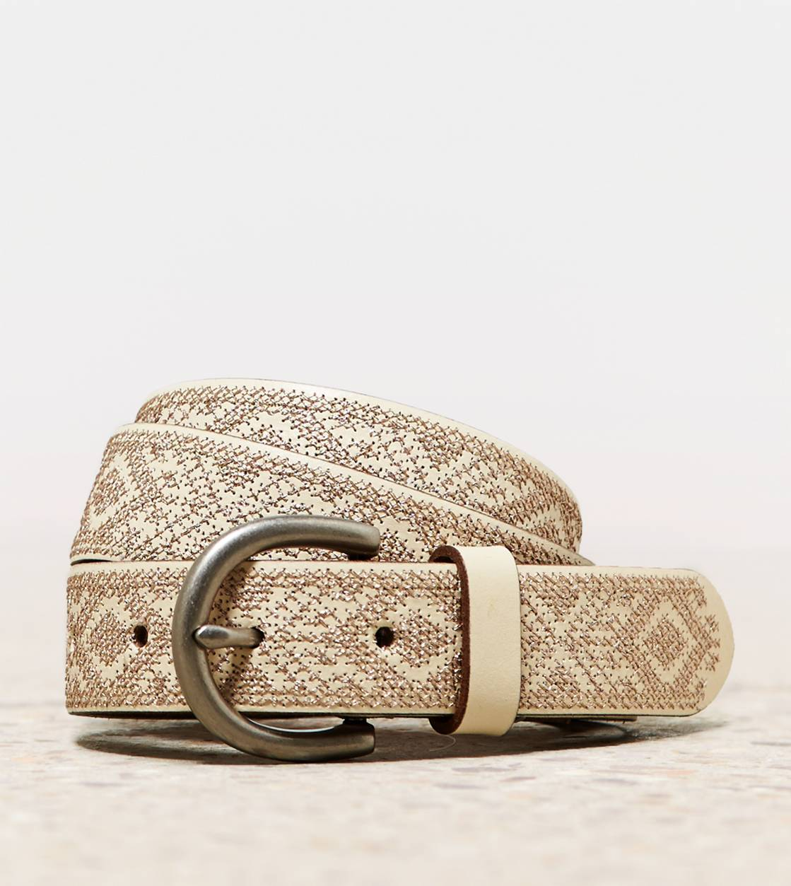 Ivory AEO Metallic Cross Stitch Belt