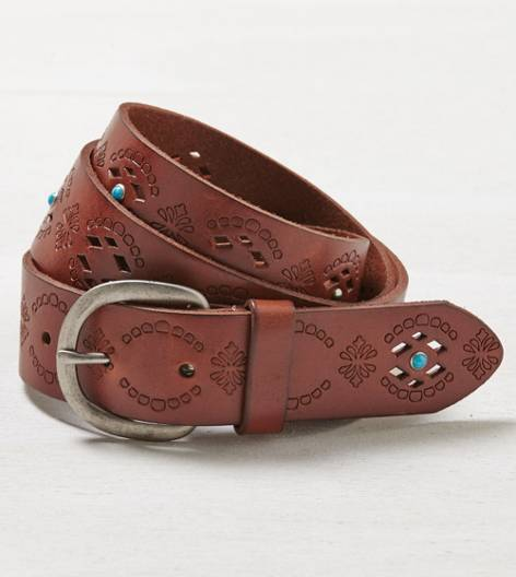 Tan AEO Turqouise Studded Belt