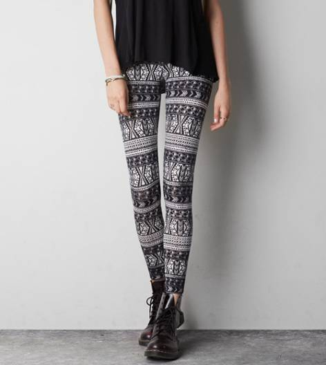 Black AEO Printed Stripe Legging