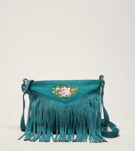 AEO Embroidered Fringe Bag