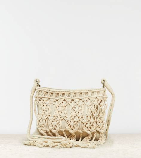 Cream AEO Macrame Crossbody Bag