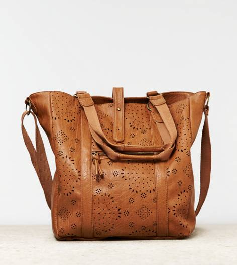 Vachetta Brown AEO Faux Leather Tote Bag
