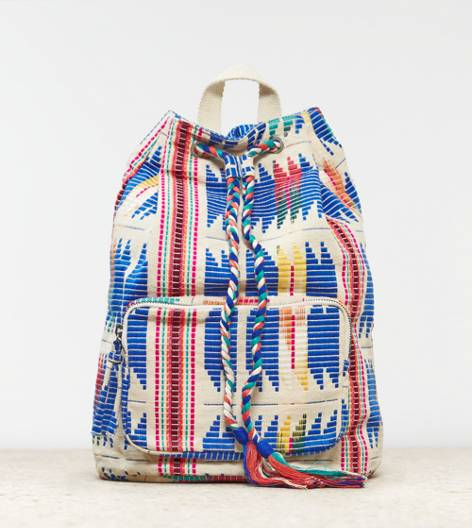 Multi AEO Boho Embroidered Bucket Backpack