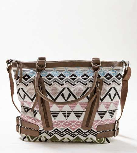 AEO Embroidered Zipper Tote Bag