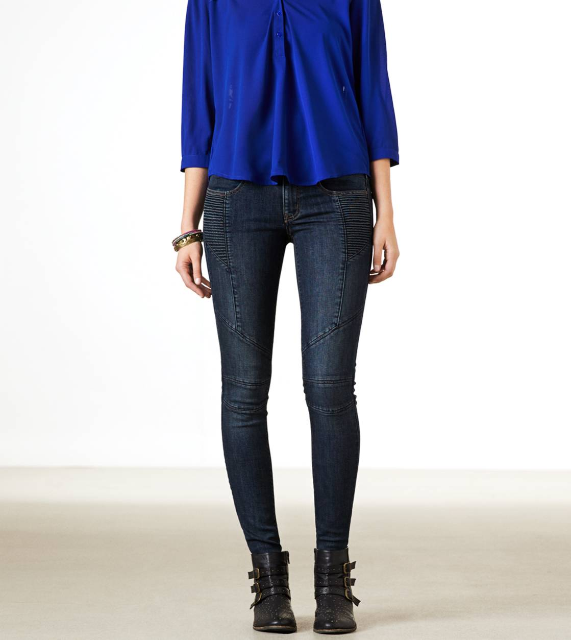 Dark Indigo Wash Moto Jegging Ankle