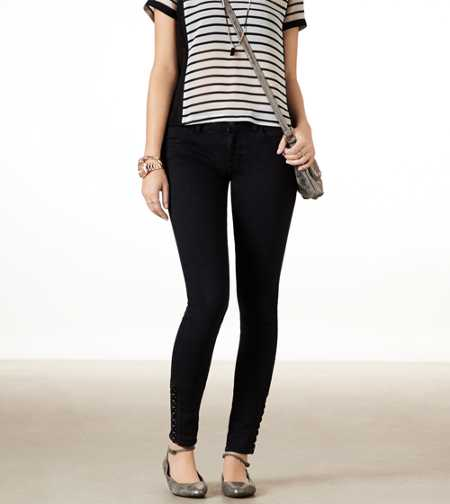 Lace Up Jegging Ankle - Black