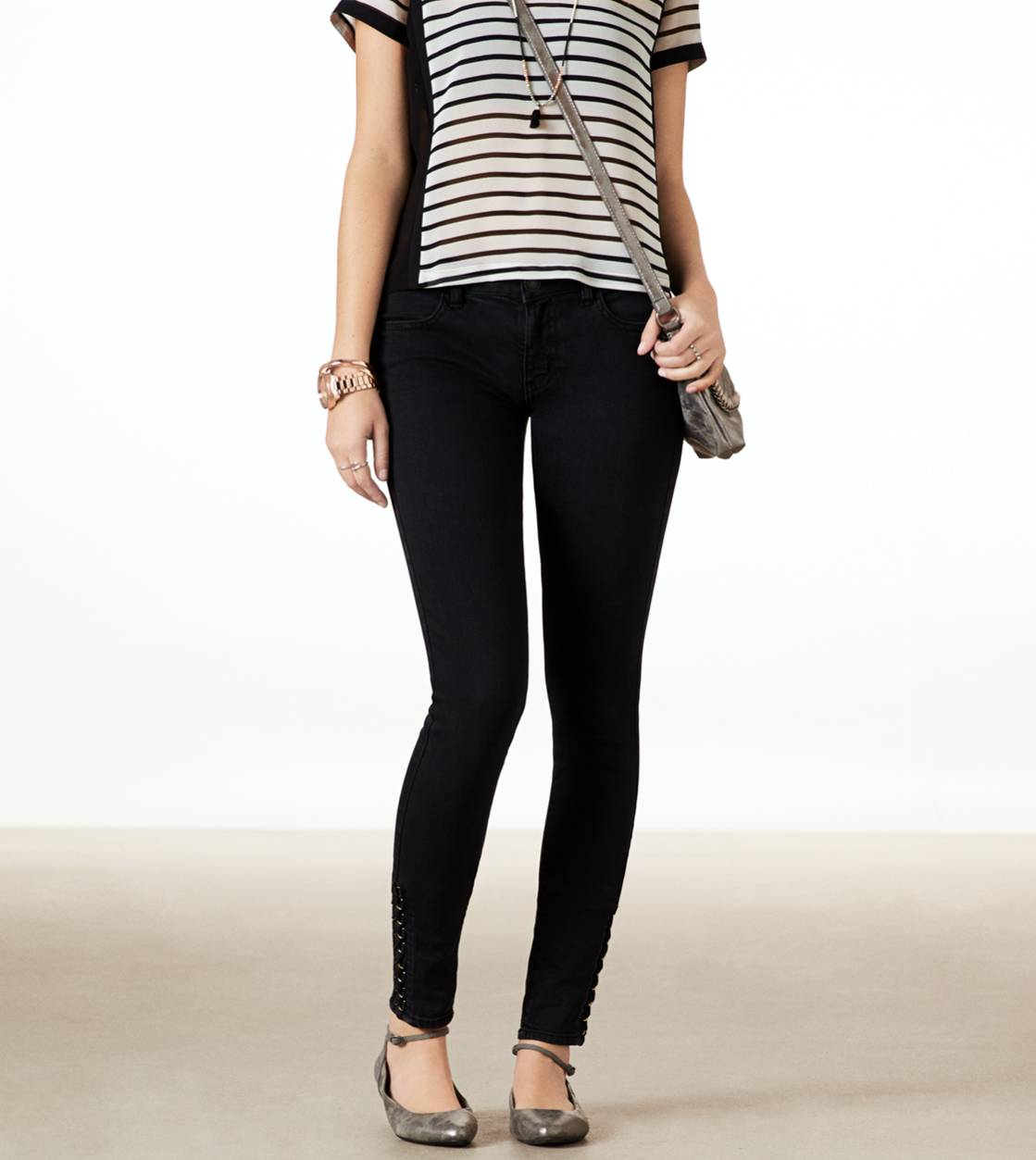 Black Lace Up Jegging Ankle