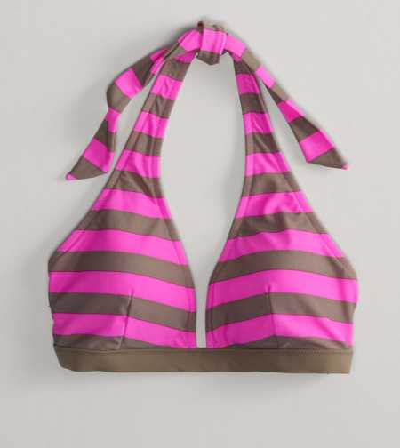 AE Striped Halter Bikini Top