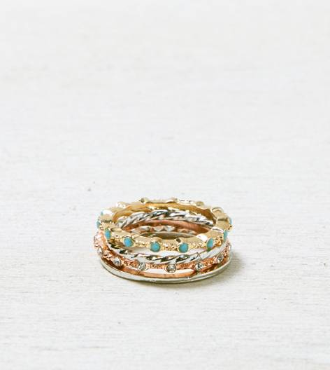 Mixed Metal AEO Turquoise & Crystal Stacking Ring Set