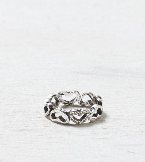 Silver AEO All Hearts Ring