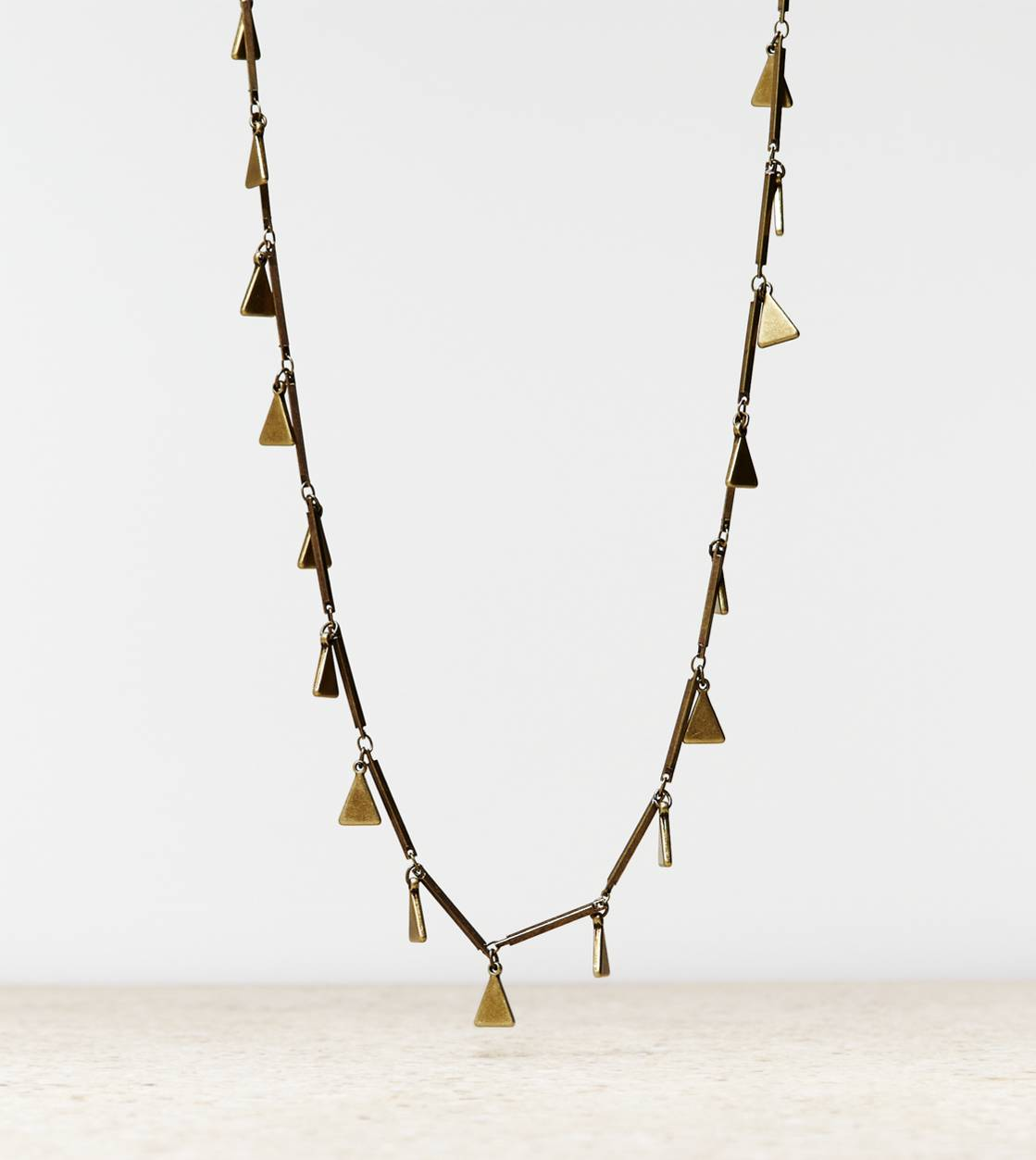 Brass AEO Triangle Charm Necklace