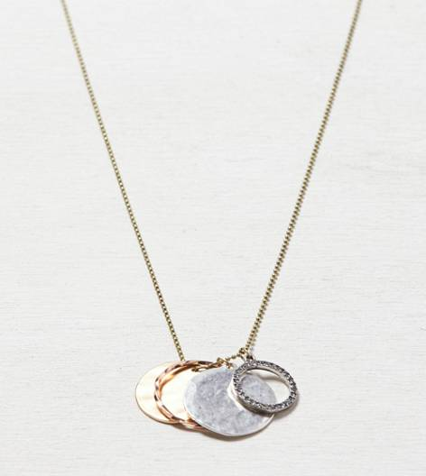 Mixed Metal AEO Hoop Charm Necklace