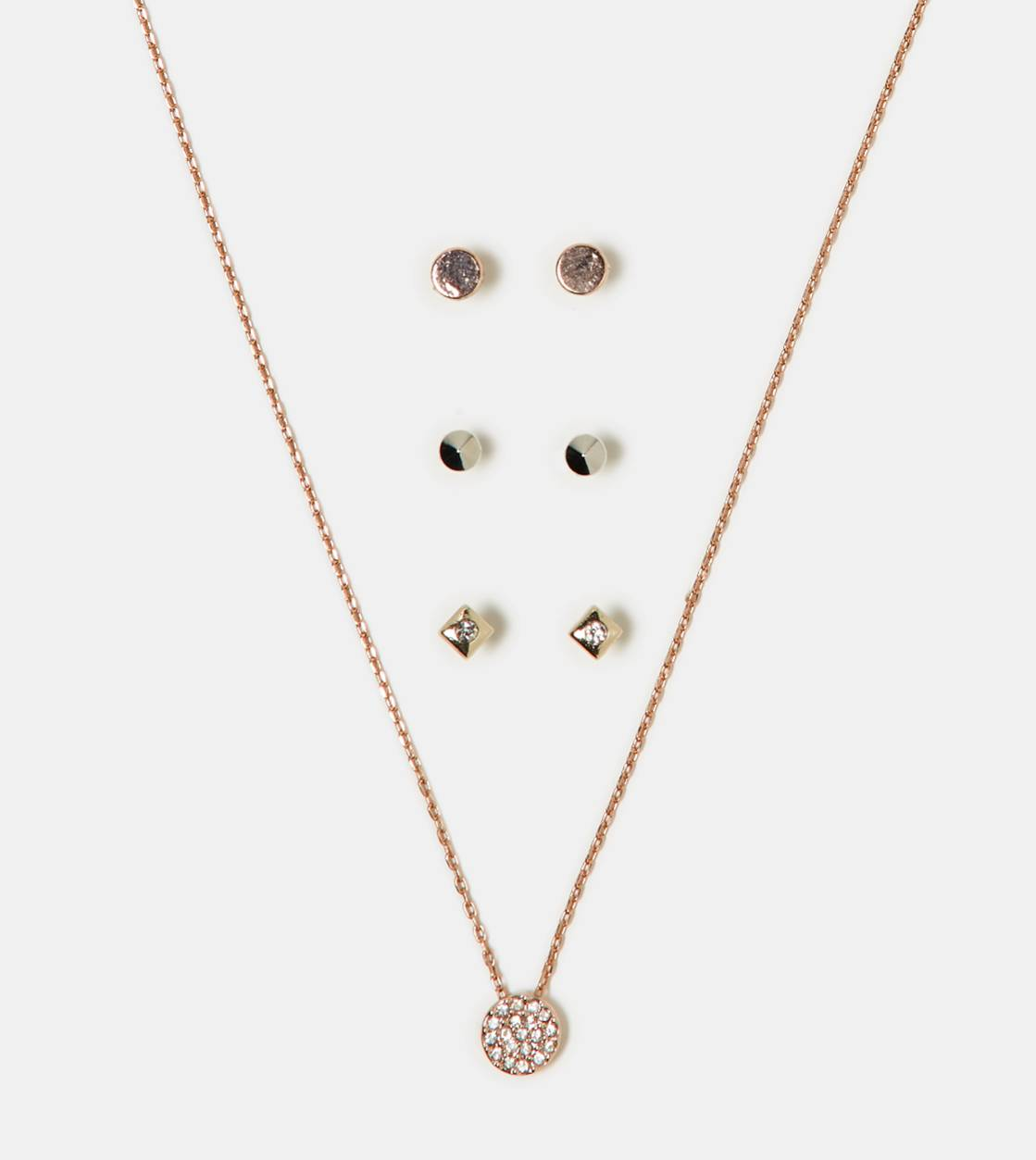 Mixed Metal AEO Necklace & Stud Set