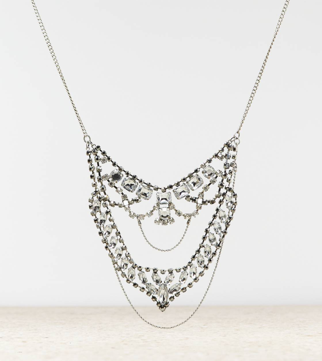 Silver AEO Gemstone Bib Necklace
