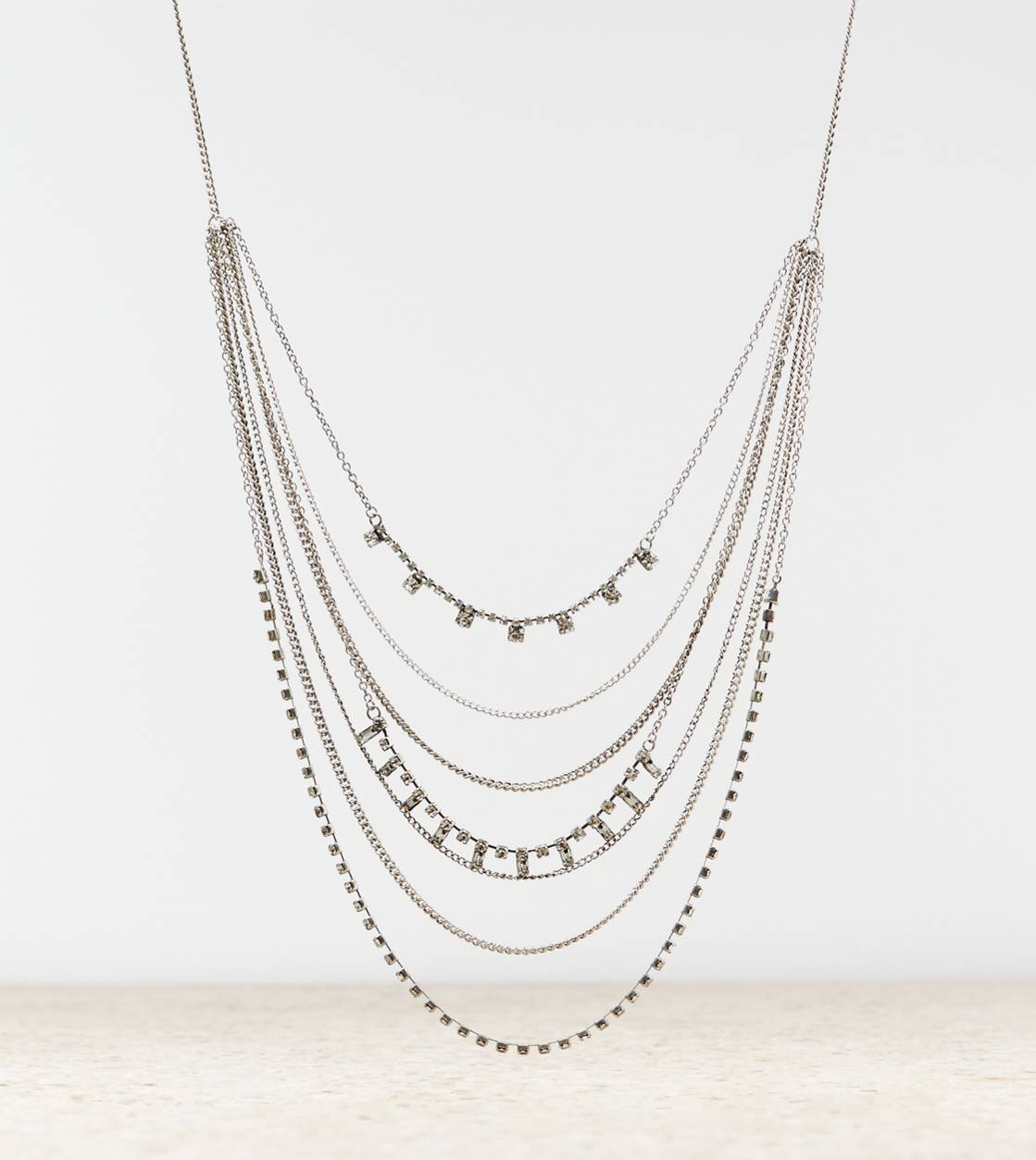 Silver AEO Tiered Gemstone Necklace