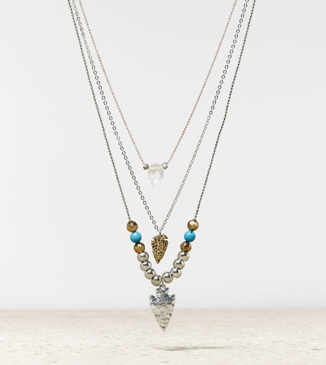 Mixed Metal AEO Tiered Arrowhead Necklace