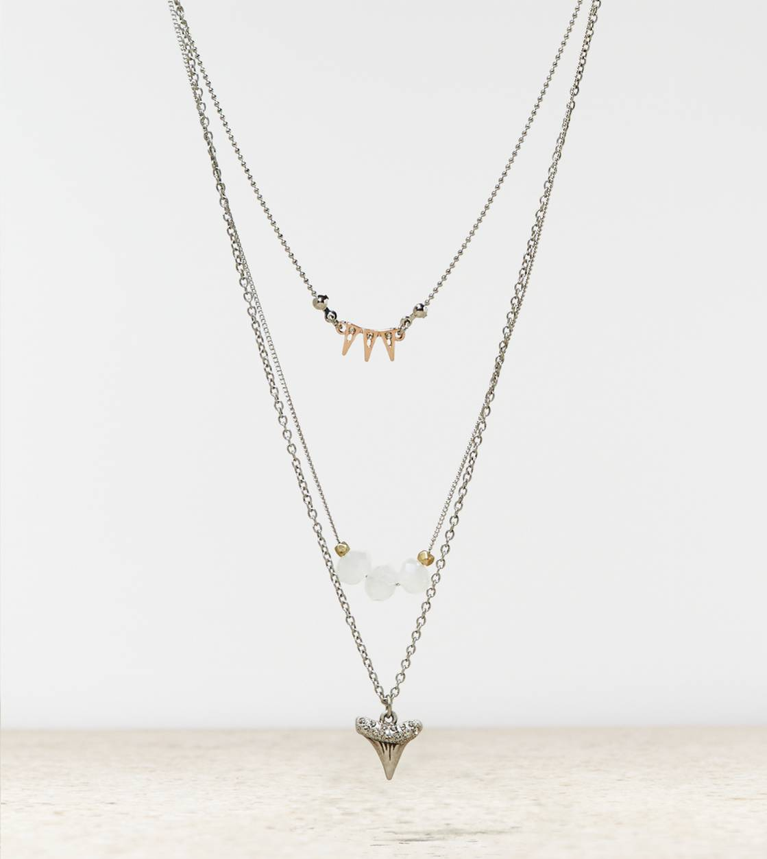 Silver AEO Shark Tooth Necklace