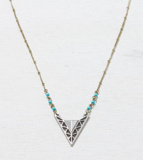 Mixed Metal AEO Turquoise Pendant Necklace