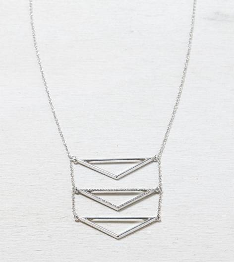 Silver AEO Triple Chevron Necklace