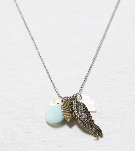 Silver AEO Long Leaf Cluster Necklace