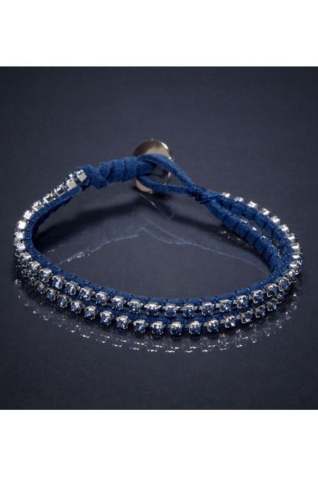AE - Blue Double Strand Rhinestone Bracelet :  american eagle jewellery blue suede accessories