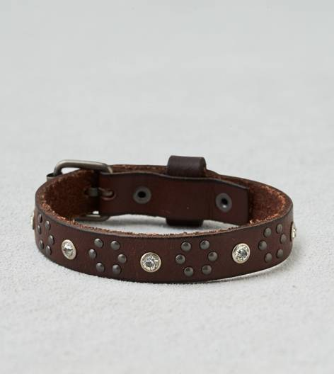 Leather AEO Rhinestone Leather Cuff