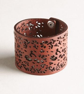 AEO Floral Cutout Leather Cuff - American Eagle Outfitters