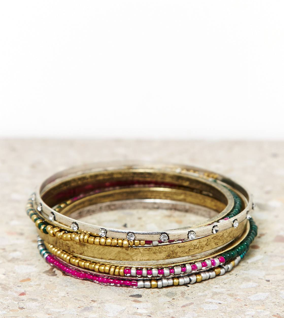 Multi AEO Brass Beaded Bangle Set