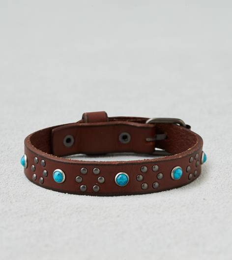 Leather AEO Turqouise Studded Cuff
