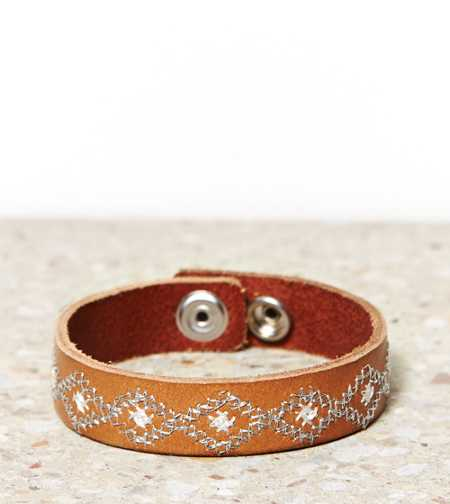 AEO Embroidered Leather Cuff