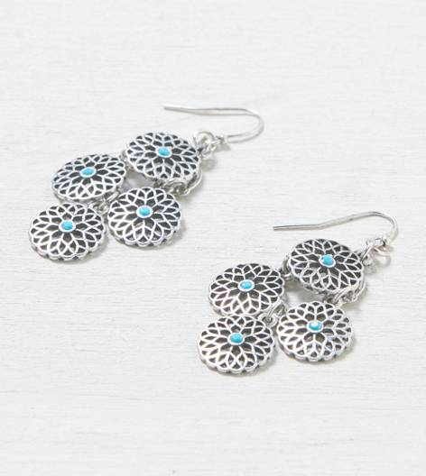 Silver AEO Turquoise Dot Chandelier Earrings