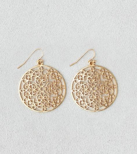 Gold AEO Cutout Disc Earring