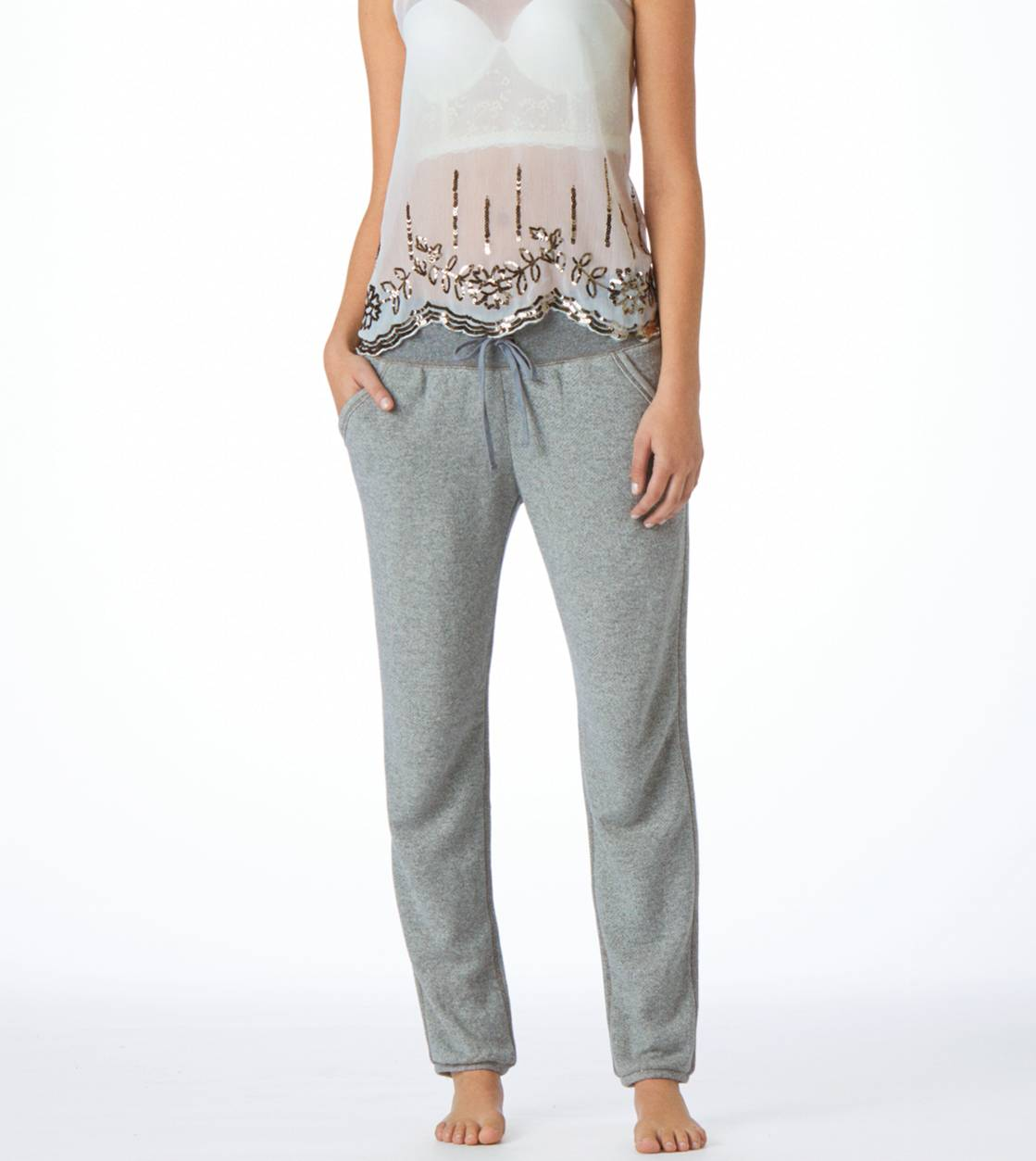 Dark Heather Grey Aerie Classic Banded Bottom Sweatpant