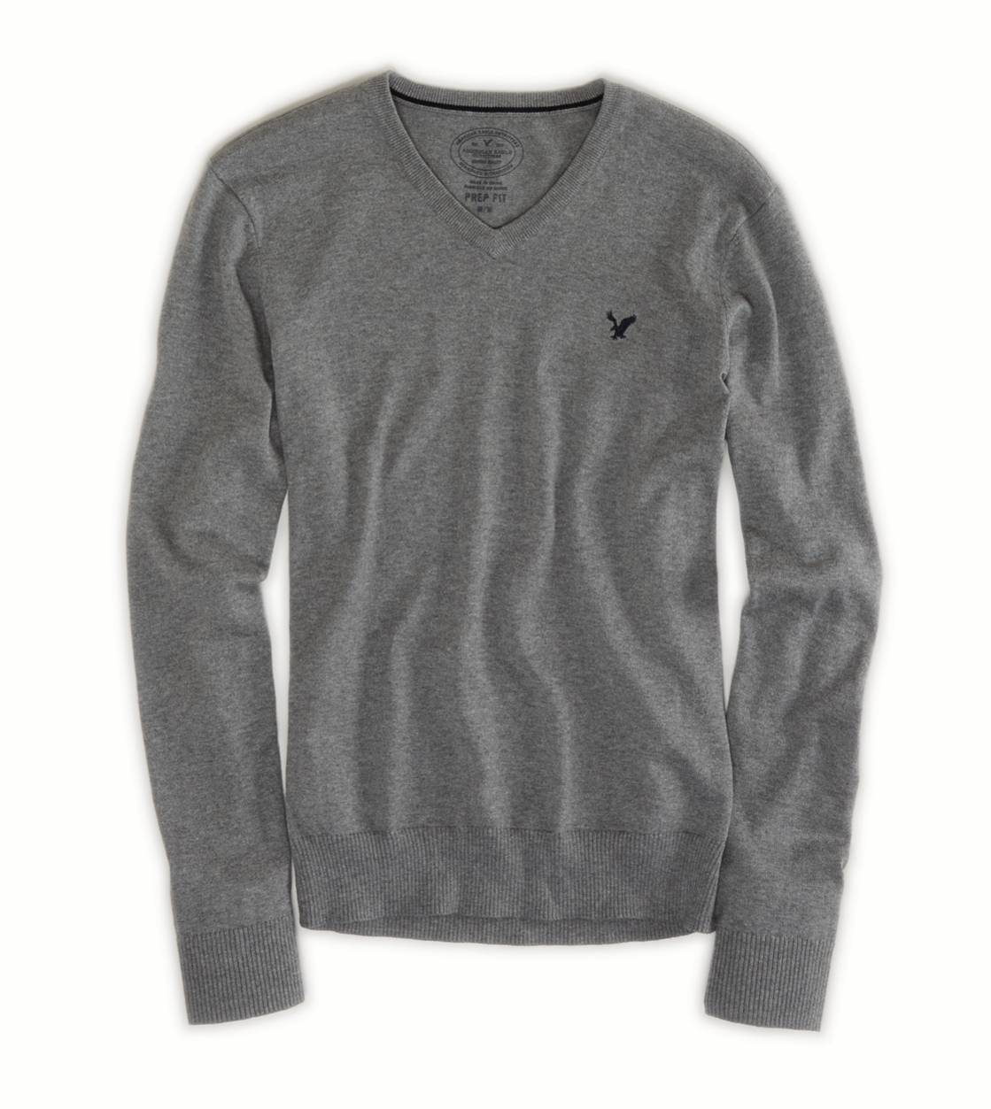 Light Heather Grey AEO Factory V-Neck Sweater