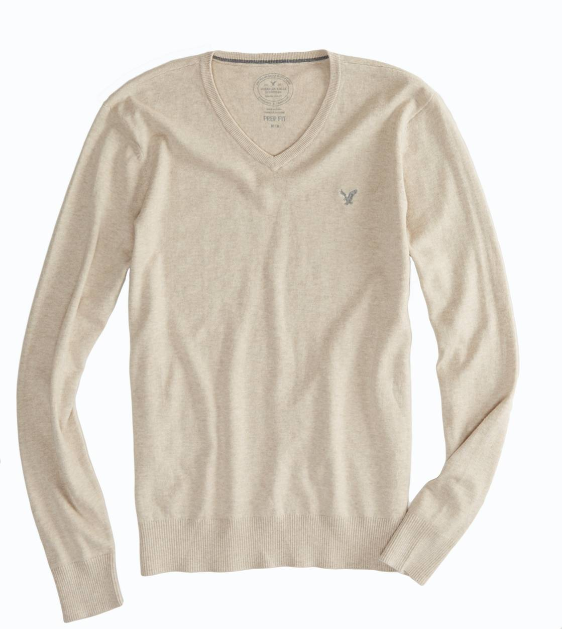 Oatmeal Heather AEO Factory V-Neck Sweater